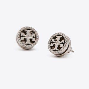 NEW Tory Burch Silver/Black Crystal Logo Earrings